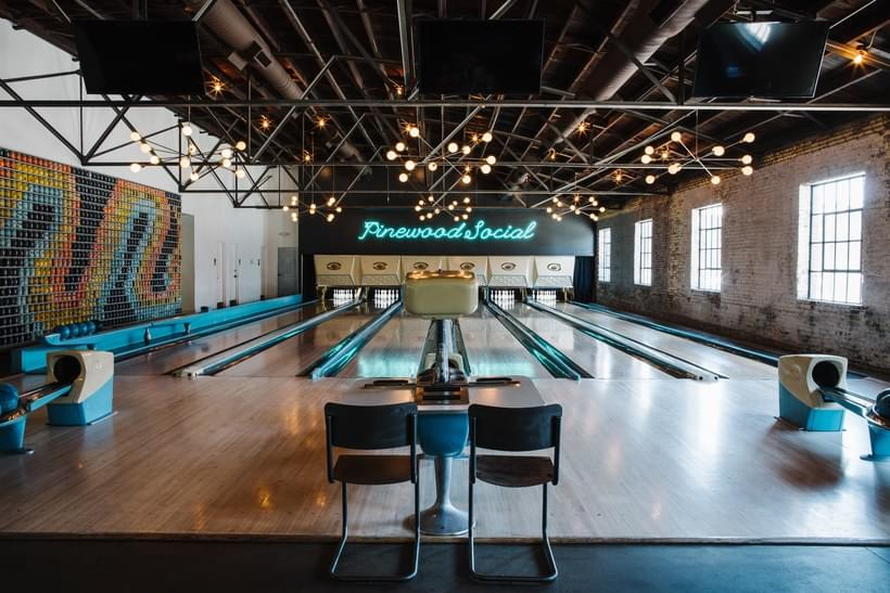 Photo of the bowling alley at Pinewood Social in Nashville.
