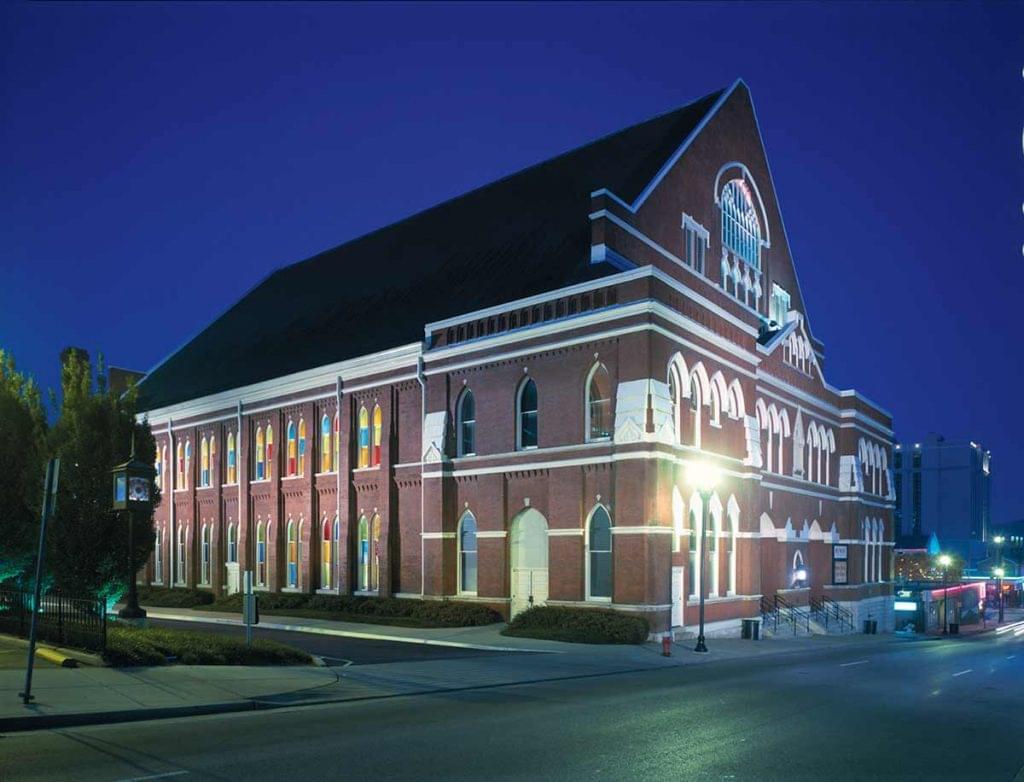 Photo of Ryman Auditorium from Broadway in Nashville.