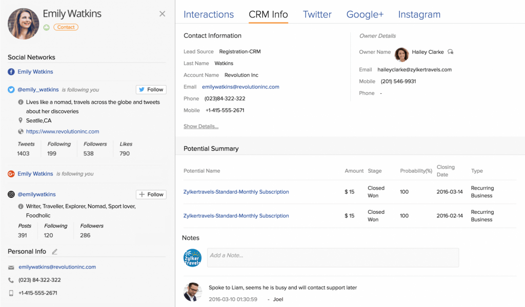 Screenshot of the contact management feature in Zoho CRM.