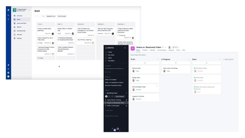 Screenshots comparing the issue tracking features in Asana vs. Jira.