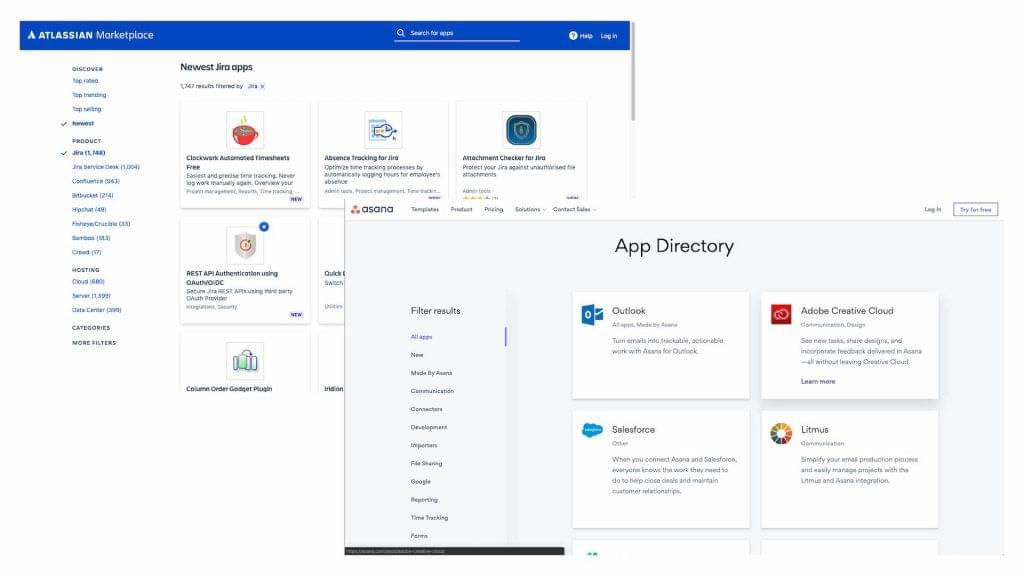 Screenshots of Asana's App Directory and Jira's Atlassian Marketplace.