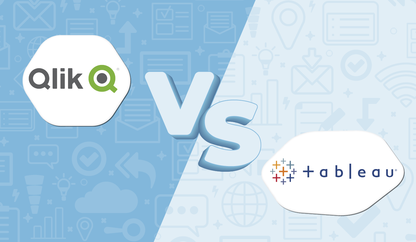 """Graphic displaying the logos for Qlik and Tableau with """"vs"""" in the middle."""