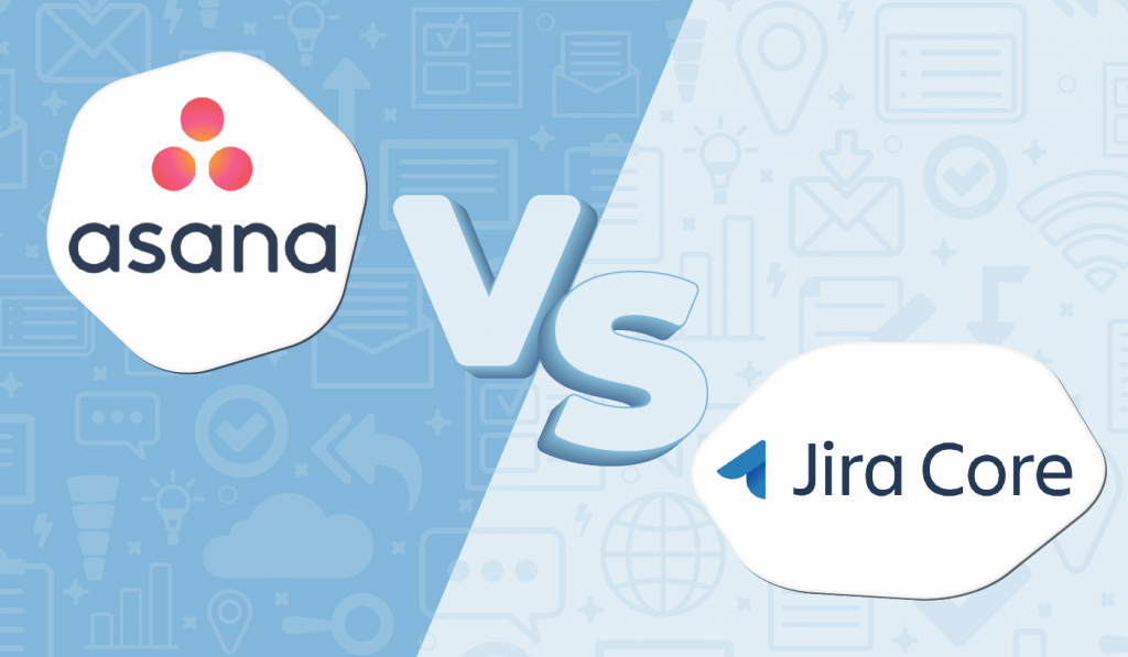 "Graphic of the Asana logo and the Jira logo with ""vs"" in between them."