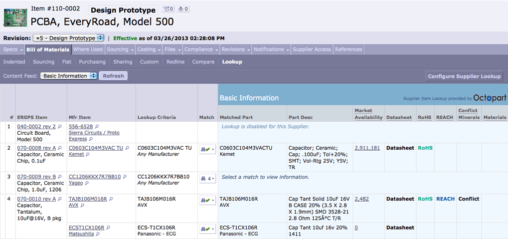 Screenshot of a bill of materials in Arena PLM.