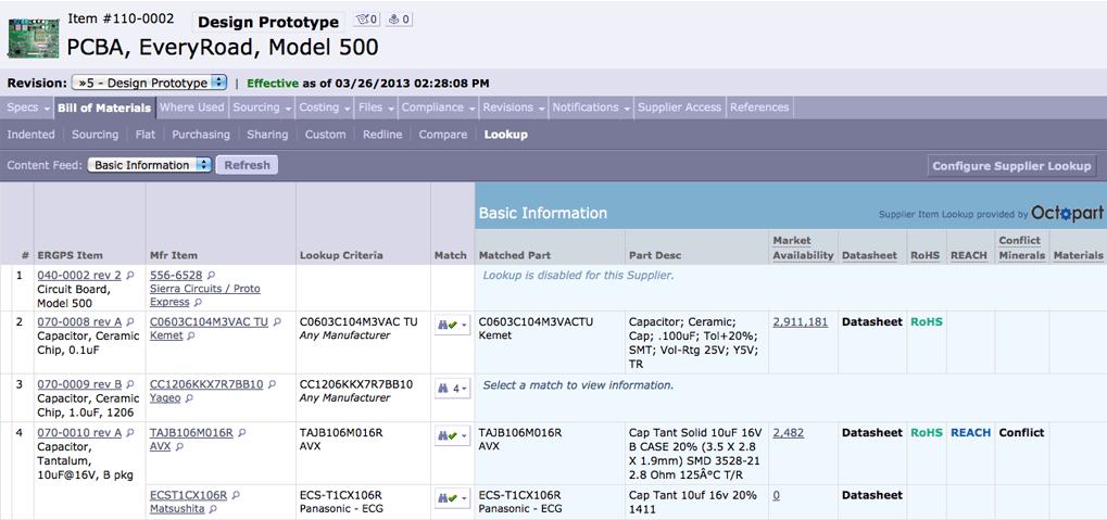 Screenshot of a bill of materials in Arena PLM.