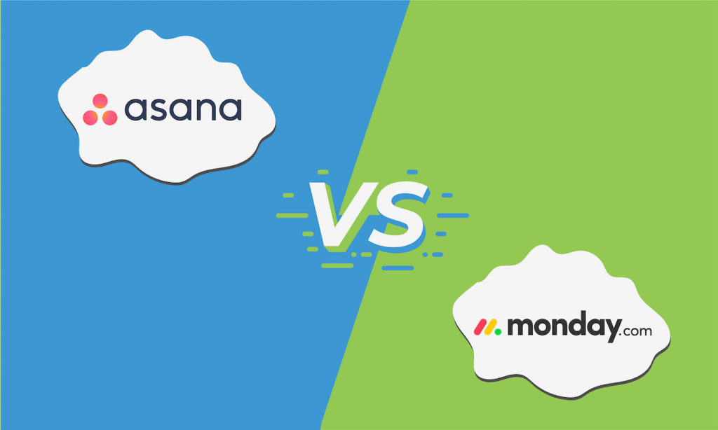 "Graphic showing the logos for Asana and Monday.com with ""VS"" in between them."