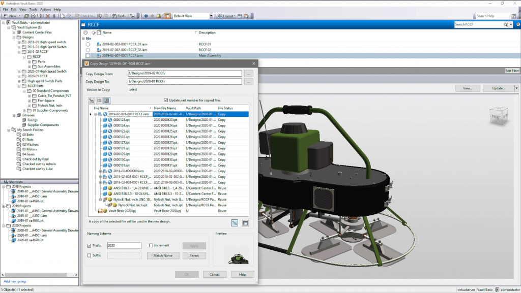Screenshot of a design in Autodesk Vault.