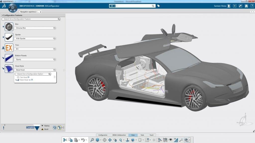 Screenshot of the 3DConfigurator in ENOVIA.