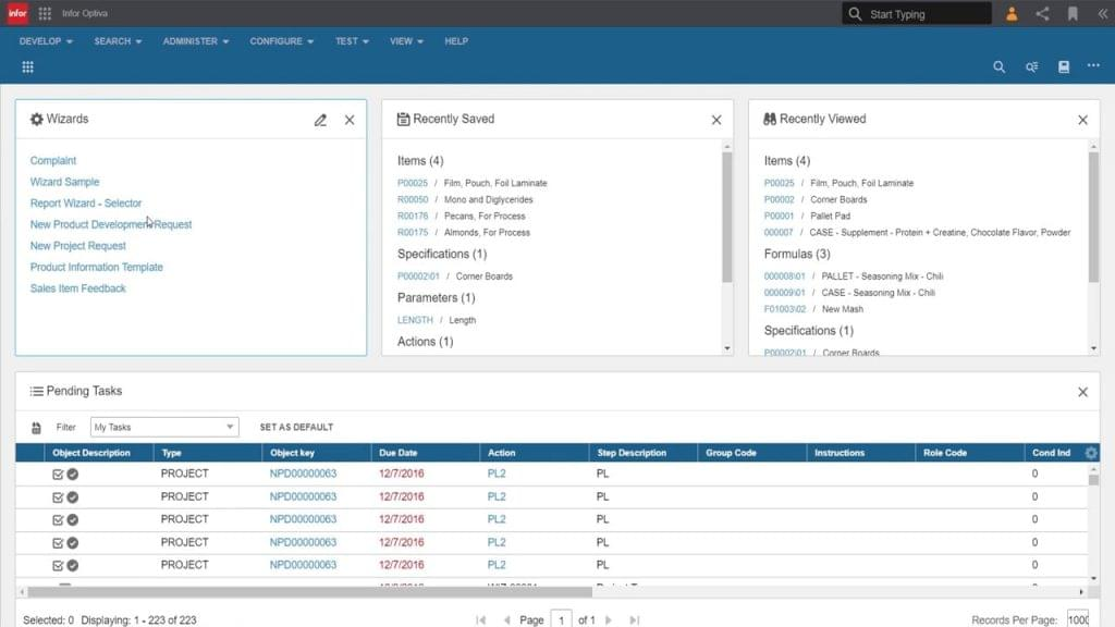 Screenshot of the user interface in Infor Optiva.
