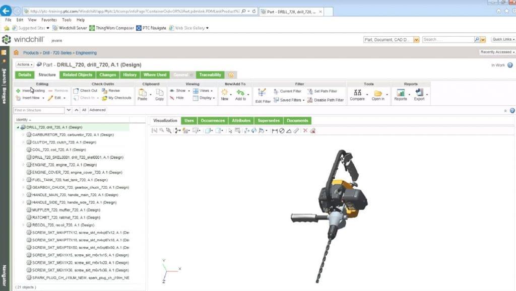 Screenshot of a design visualization in PTC Windchill.