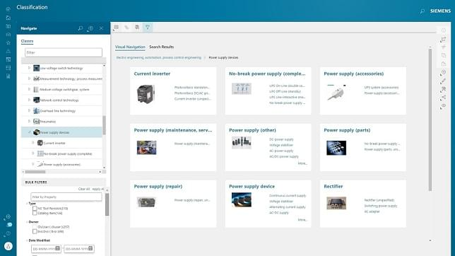 Screenshot of visual navigation in Siemens Teamcenter.