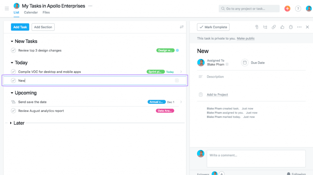 Screenshot of the list view of tasks in Asana.