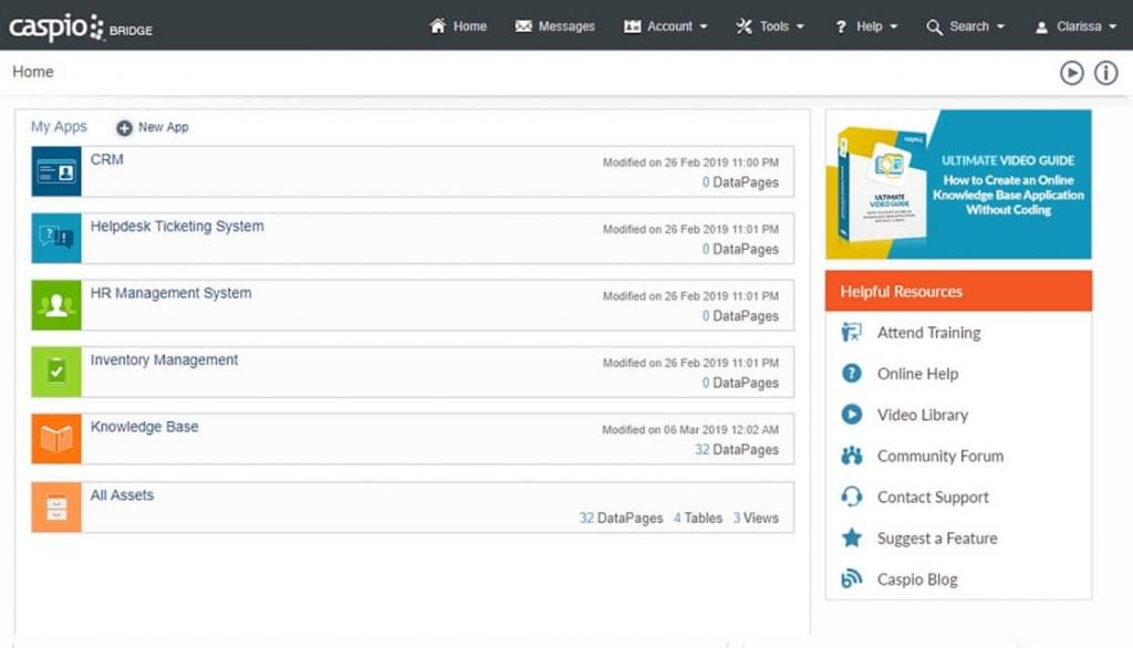 Screenshot of the user interface in Caspio.
