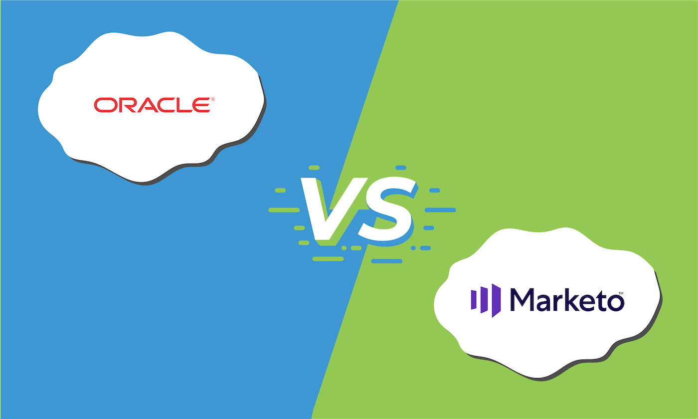 """Illustration showing the logos for Eloqua and Marketo with """"vs"""" between them."""
