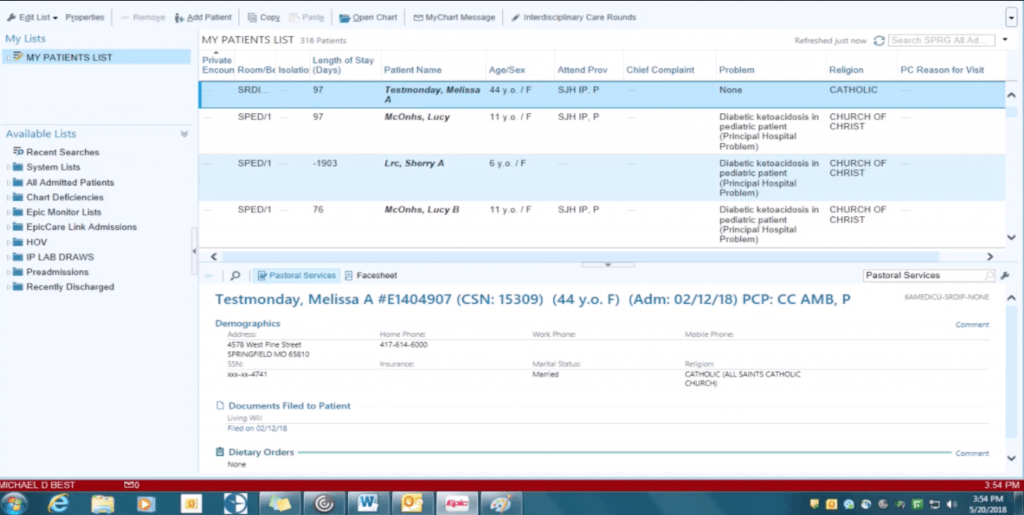 A screenshot of the user interface in Epic EHR.