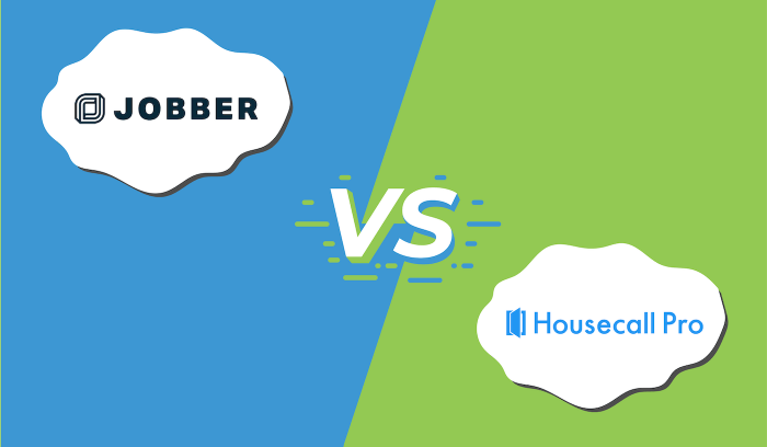 "Illustration of the logos for Jobber and Housecall Pro with ""vs"" in between them."