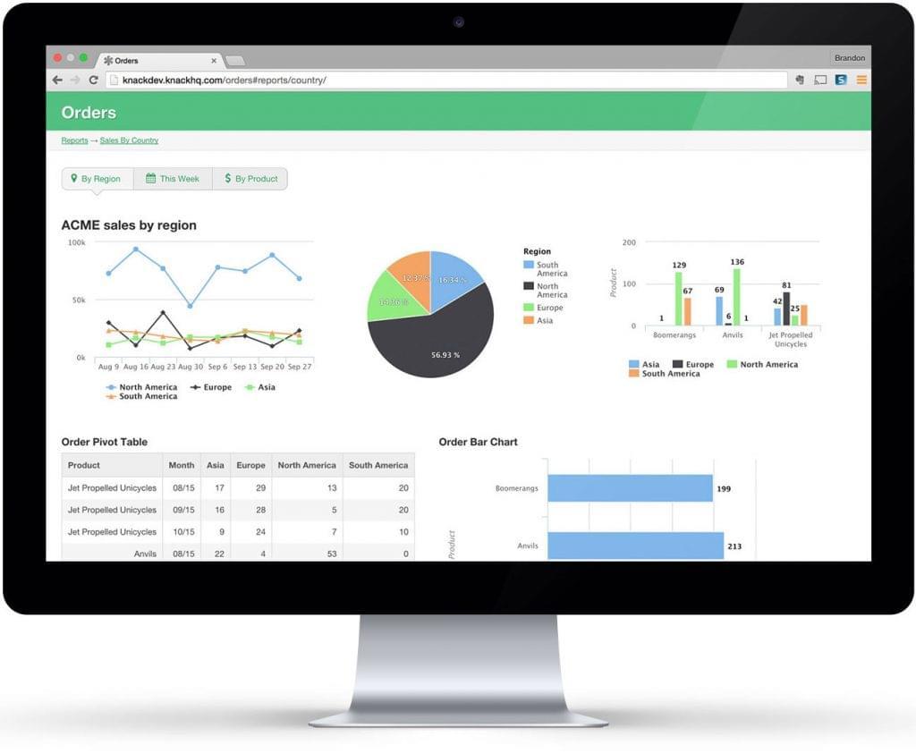 Screenshot of an app built with Knack.