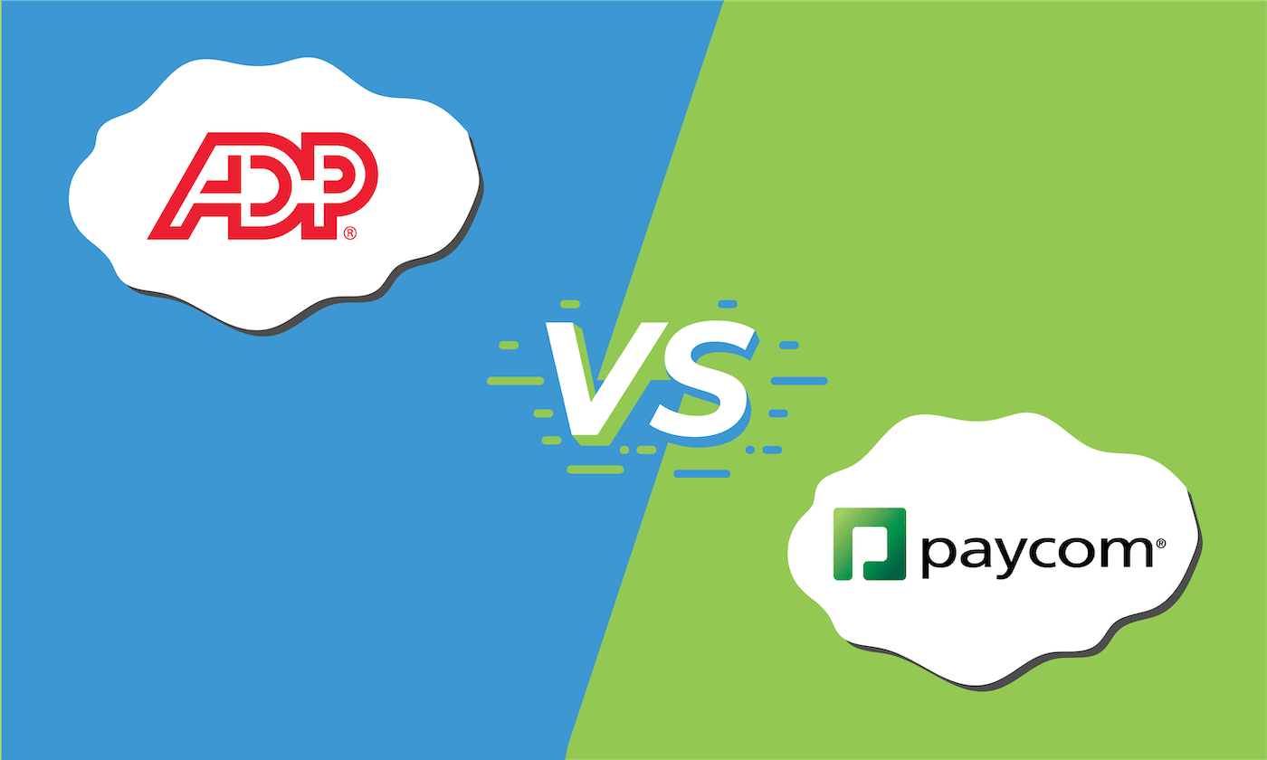 "Graphic showing the logos for ADP and Paycom with ""vs"" in between them."