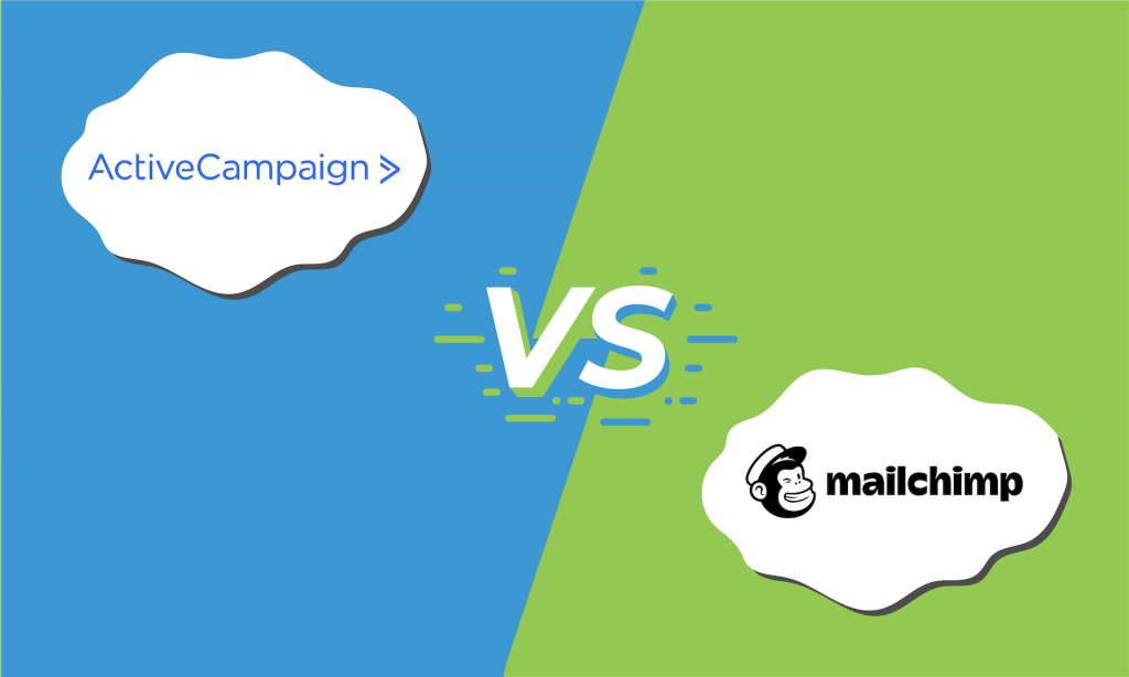 "Illustration of the logos for ActiveCampaign and Mailchimp with ""vs"" in the middle."