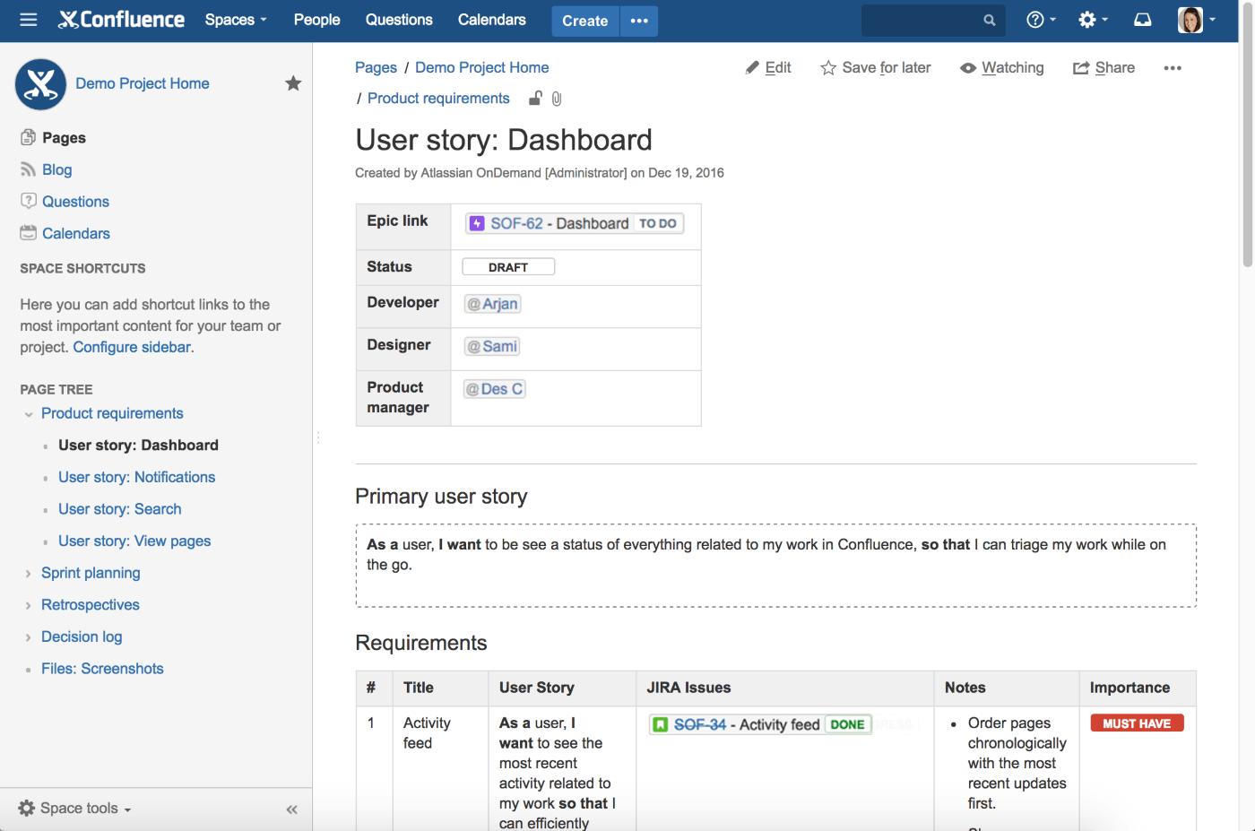 Confluence by Atlassian Desktop View