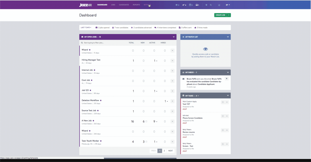 Screenshot of the dashboard in JazzHR.