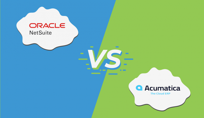 "Image of the logos for NetSuite and Acumatica with ""vs"" in the middle."