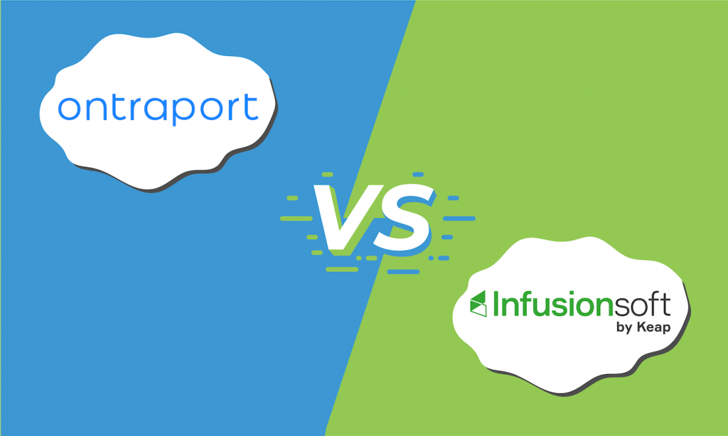 "Graphic showing the logos for Ontraport and Infusionsoft with ""vs"" in the middle."