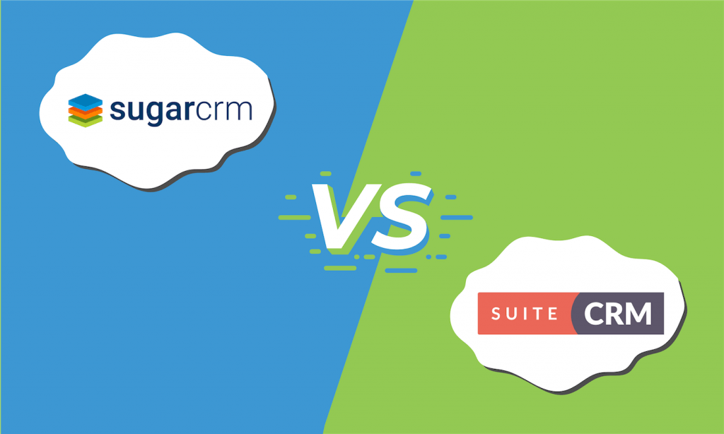 "The logos for SugarCRM and SuiteCRM with ""vs"" in the middle."