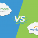 """Illustration showing the logos for UltiPro and Workday with """"vs"""" in the middle."""