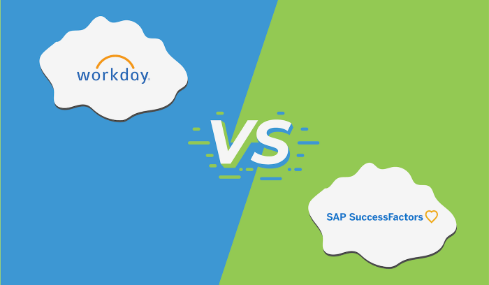 "Illustration with the logos for Workday and SuccessFactors with ""vs"" in the middle."