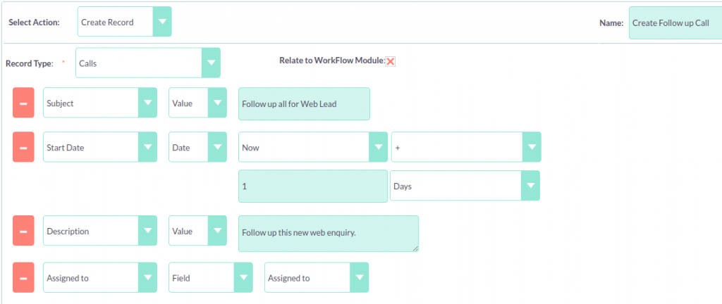 Screenshot of a workflow automation in SuiteCRM.