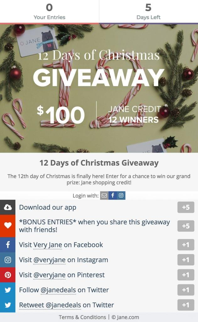 Screenshot of a giveaway created with Gleam.