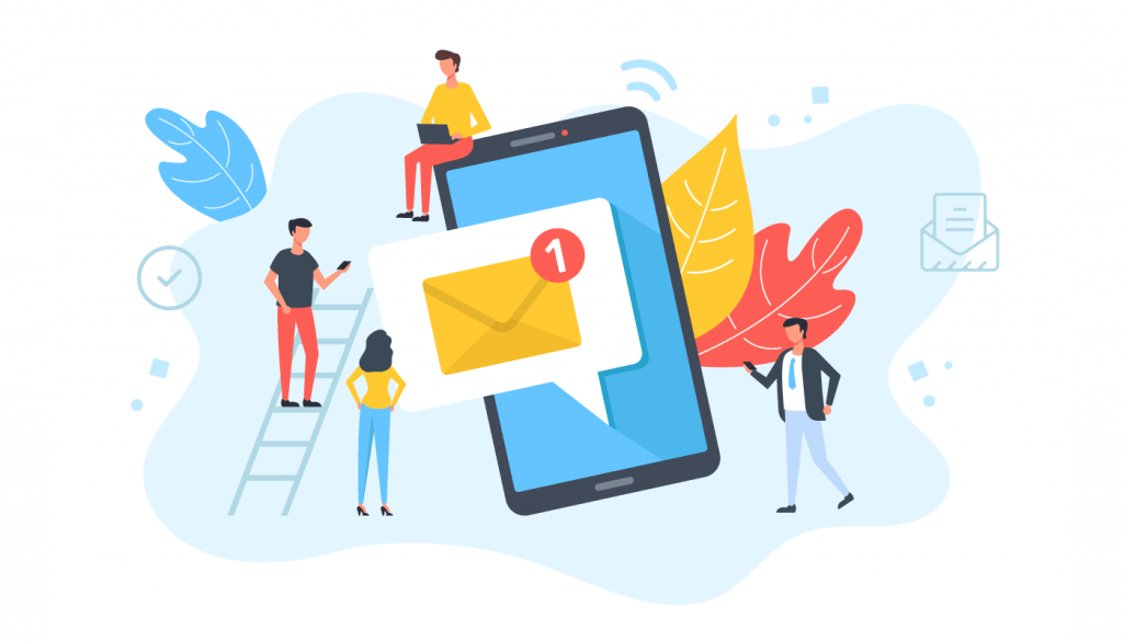 Illustration of a group of people around a giant cell phone that just received an email.