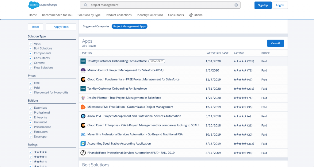 Screenshot of the Salesforce AppExchange.