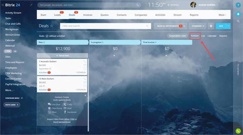 Bitrix24 Kanban View on Desktop