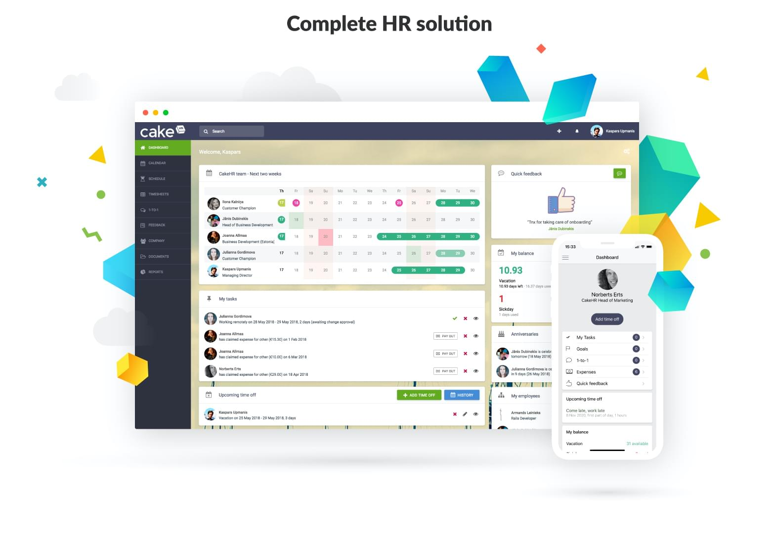 CakeHR software with data visualization.