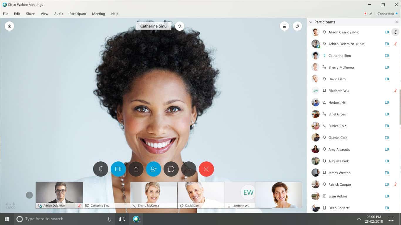 Webex video conferencing.