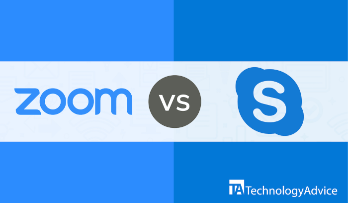 "An illustration showing the logos for Zoom and Skype with ""vs"" in the middle."