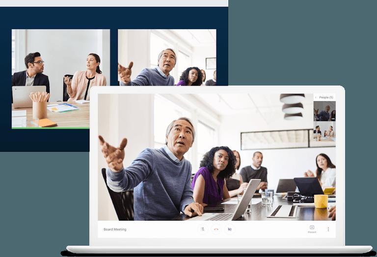 Google hangouts meet video conference.