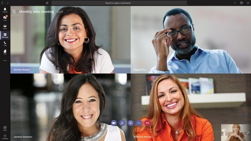 Microsoft Teams video conferencing.