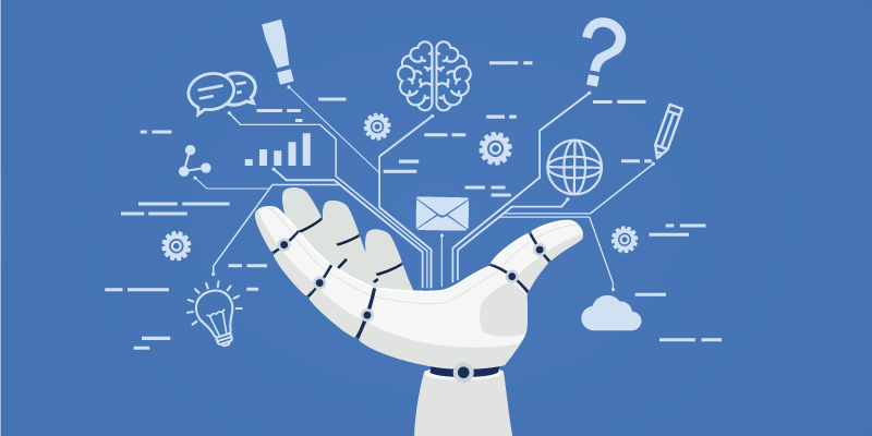 A robot hand holds various different icons representing email, artificial intelligence, and natural language processing.