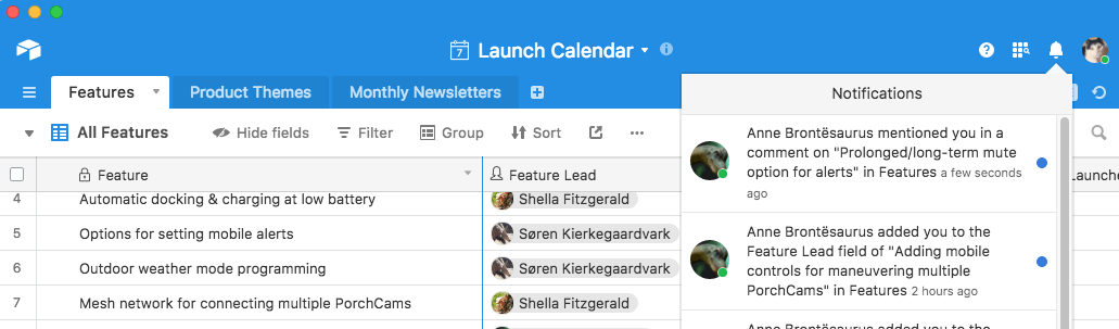 notifications in Airtable task management.