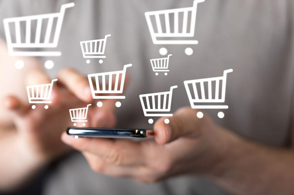 Person shopping online on their mobile phone.