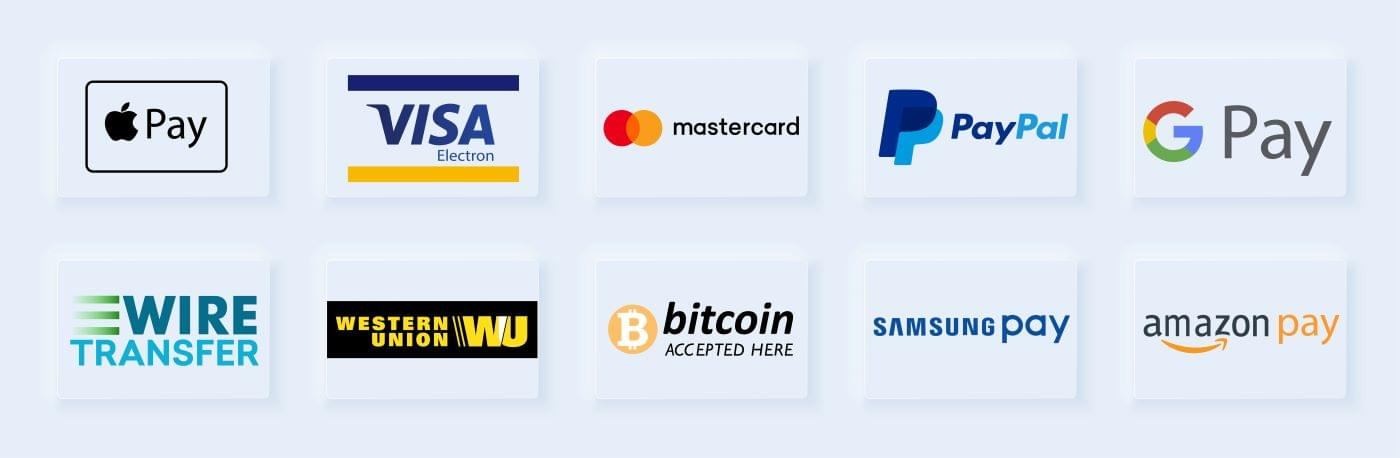 Logos for a variety of different payment options, including Visa, Mastercard, PayPal, and Apple Pay.