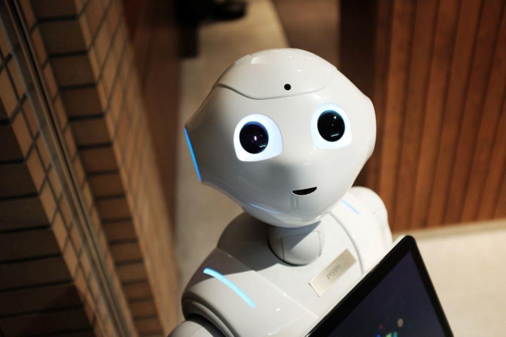 Artificially intelligent robot.