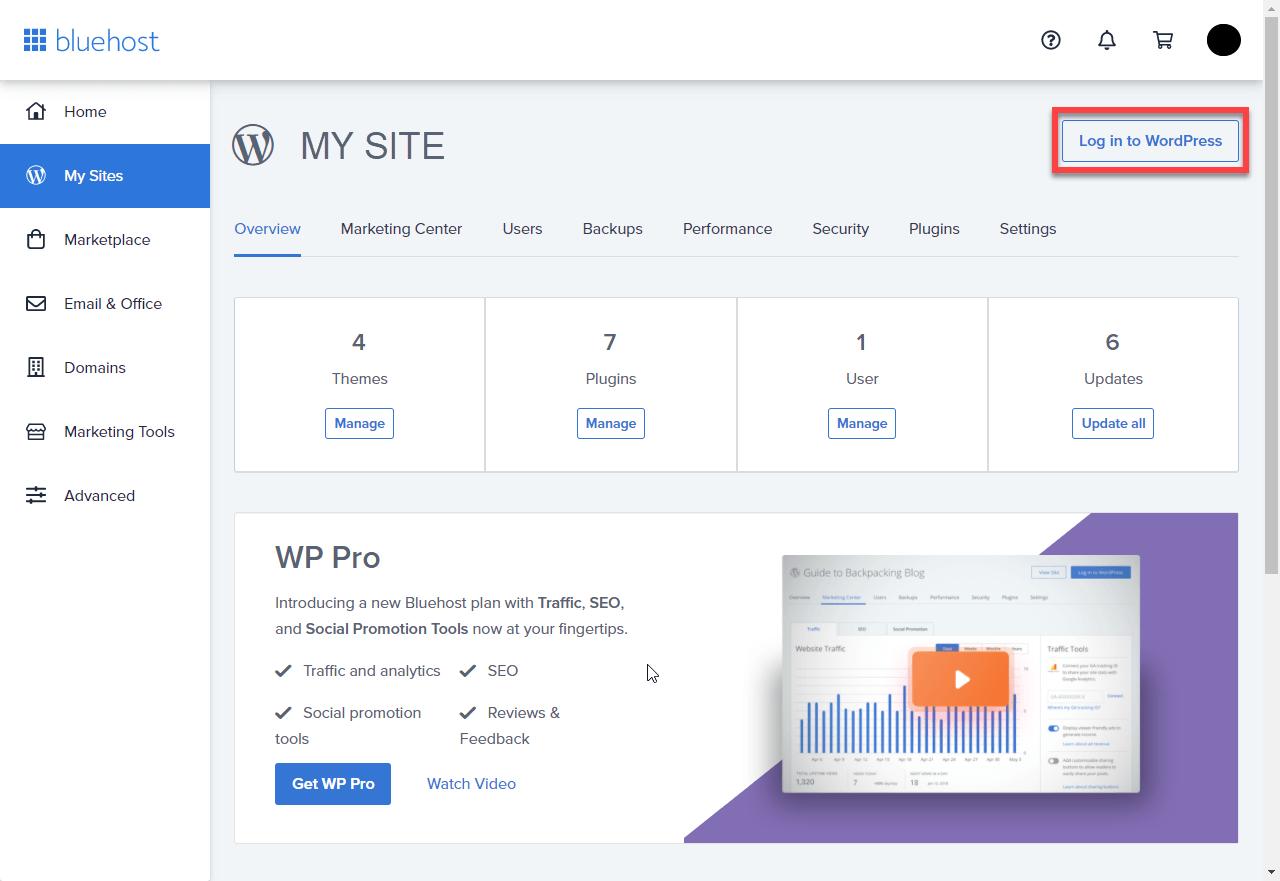 Bluehost web hosting dashboard.