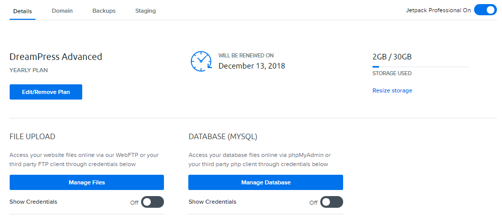 DreamHost web hosting dashboard.