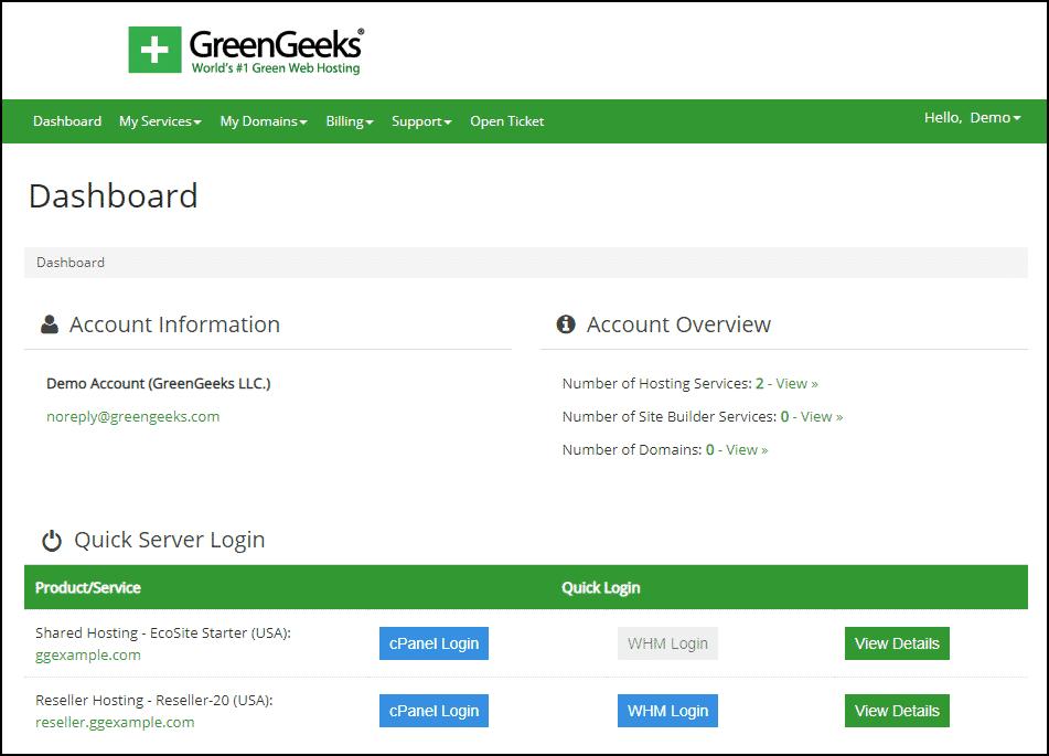 GreenGeeks website hosting dashboard.