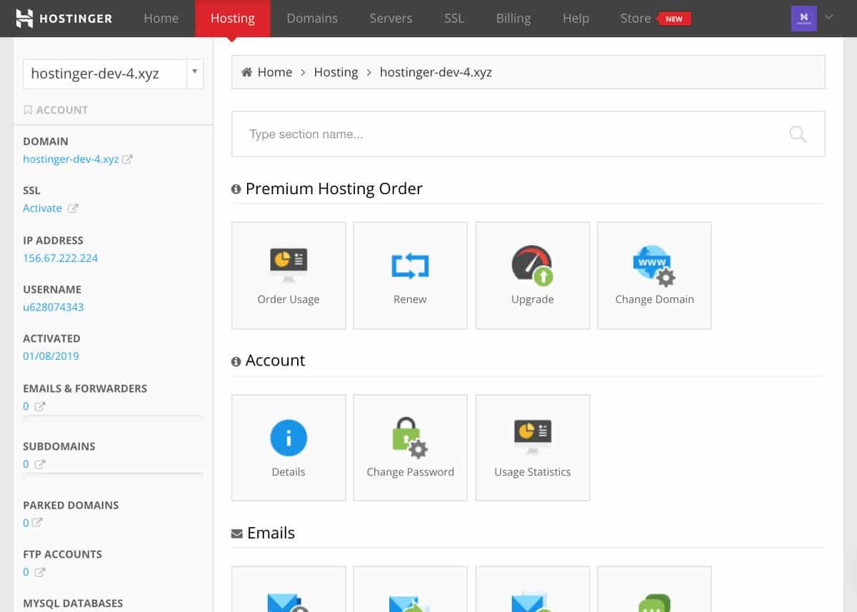Hostinger web hosting dashboard.