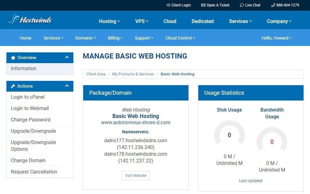 Hostwinds website hosting dashboard.